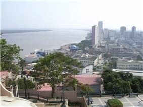 Panorama view of Guayas River and downtown Malecon waterfront area, from Santa Ana Hill