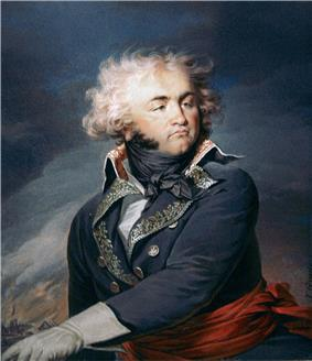 Painting of a man with a round face, cleft chin and wildly wavy hair. He wears a dark blue military uniform of the 1790s era.