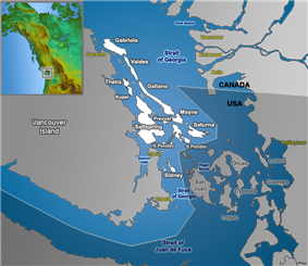 The Southern Gulf Islands, including North and South Pender.