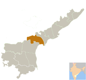 Location of Guntur district in Andhra Pradesh