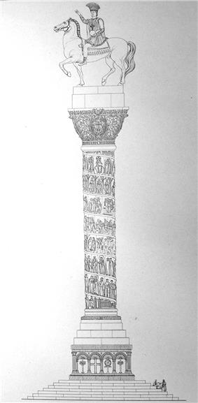 Reconstruction of the column, after Cornelius Gurlitt, 1912. The depiction of a helical narrative frieze around the column, after the fashion of Trajan's Column, is erroneous.