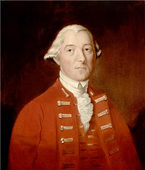 A half-height portrait of Carleton.  He wears a red coat with vest, over a white shirt with ruffles.  His white hair is drawn back, and he faces front with a neutral expression.