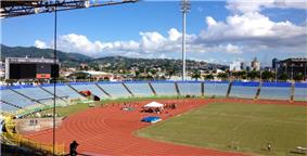 The Hasely Crawford Stadium in January 2013 during a track and field event