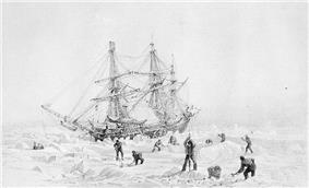 Engraving of HMS Terror thrown up by the ice