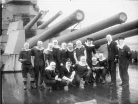 Members of HMS Duke of York's gun crews at Scapa Flow after the Battle of North Cape.