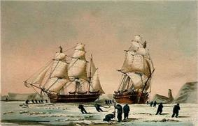 The Devils Thumb, Ships Boring and Warping in the Pack, Dedicated by special permission to the Lords Commissioners of the Admiralty By their Lordships most obedient Servant W H Browne, Lieut R N