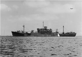 A black and white photograph of HMS Glengyle, an infantry assault ship