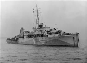 Photograph of HMS Woodpecker in December 1942, from IWM