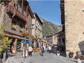 An Ordino street and Casamanya mountain in the background