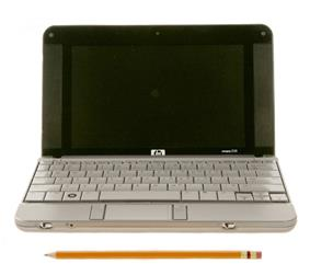 HP 2133 Mini-Note PC (front view compare with pencil).