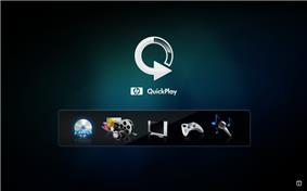 User interface of HP Quickplay for Windows Vista