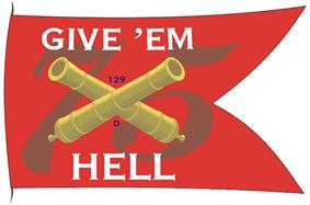 Battle flag with red background with the number 75, crossed canon barrels and phrase