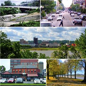 Clockwise: the Paul Ambrose Trail for Health (PATH), Fourth Avenue, the downtown skyline as seen from across the Ohio River, Harris Riverfront Park, and the Huntington Welcome Center at Heritage Station.