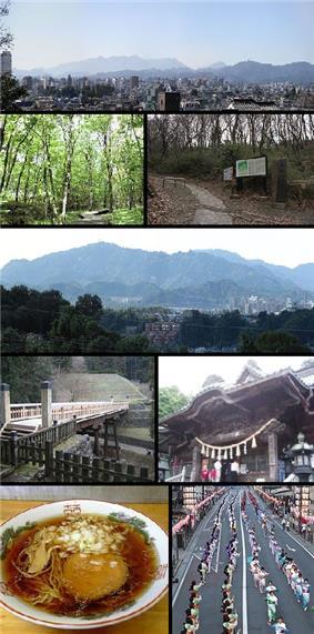 View of top left, Downtown Hachioji, Komiya Park, Naganuma Park, Mount Takao, stone fence and bridge in Hachioji Castle site, Yakuoin in Mount Takao, Hachioji Ramen, Hachioji Traditional Festival on August