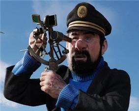 A computer-illustrated, realistic-looking image of Captain Haddock, a screenshot from the new movie