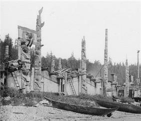 Old Massett and its impressive collection of longhouses and totem poles.