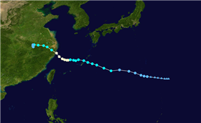 Map of the storm's progression, with wind speeds indicated