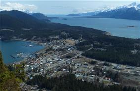 Haines, viewed from Mount Ripinski, with Chilkoot Inlet on the left, Chilkat Inlet on the right, and the Chilkat Peninsula extending into the distance.