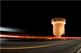 The city's water tower, located on Haltom Road