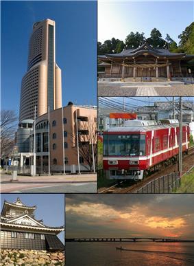 From top left:Act City Hamamatsu, Akihasan Hongū Akiha Jinja, Enshu Railway Line, Hamamatsu Castle, Hamana Ōhasi