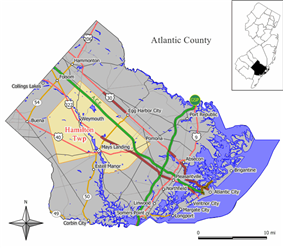 Map of Hamilton Township in Atlantic County. Inset: Location of Atlantic County highlighted in the State of New Jersey.