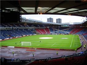 The interior of a football stadium.