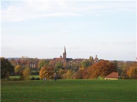 A view of Hampstead Heath across a grass covered field towards trees and a distant church tower.