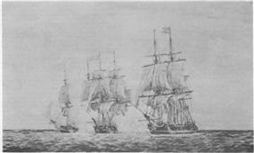 The Hancock and Boston overtake the British cruiser Fox.