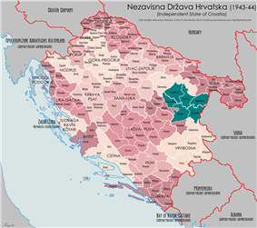 a map of the NDH highlighting an area in the eastern part of Bosnia where the division operated