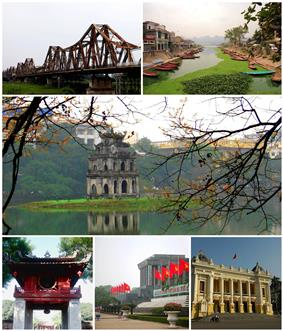 (from left) top: Long Biên Bridge, river near Perfume Pagoda; middle: Turtle Tower, bottom: Temple of Literature, Ho Chi Minh Mausoleum, Hanoi Opera House