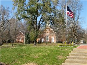 The Hanover Presbyterian Church, as viewed from Fireman's Park.