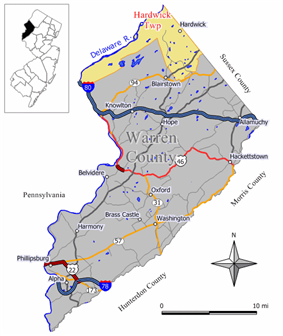 Map of Hardwick Township in Warren County. Inset: Location of Warren County highlighted in the State of New Jersey.