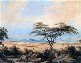 A peaceful pre-colonial southern African scene. Beneath a blue sky, a large kraal is seen from afar, with black figures dotted around it.