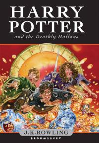 A black-haired young man with round eyeglasses is falling forward along with a red-haired young man and a young woman with light brown hair knocking over cauldrons with gold inside them. Each of them has an apparently blushed face. In the background a goblin's arm is holding a sword. The top of the cover says: HARRY POTTER AND THE DEATHLY HALLOWS, while the bottom of the cover says: J. K. ROWLING, BLOOMSBURY.