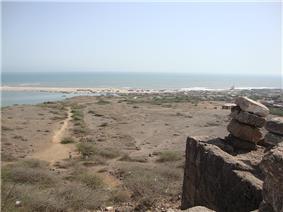 Sea view from Harshad Temple on Koyala hill, at Saurashtra