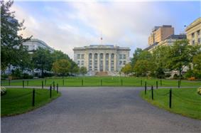 Harvard Medical School quadrangle in Longwood Medical Area.