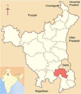 Location of Gurgaon district in Haryana