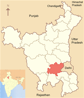 Location of Jhajjar district in Haryana