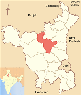 Location of Jind district in Haryana