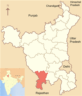 Location of Mahendragarh district in Haryana