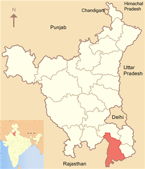 Location of Mewat district in Haryana