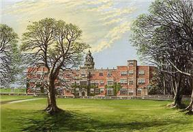 A large red-brick country manor house with trees in the foreground