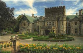 An exterior view of Hatley Castle