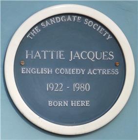 blue plaque commemorating Hattie Jacques
