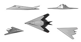 Line drawings of different angles of an aircraft