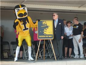 Hayden Fry during the official dedication of the