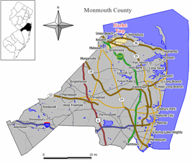 Map of Hazlet Township in Monmouth County. Inset: Location of Monmouth County in the State of New Jersey.