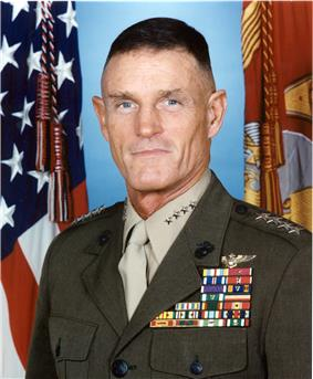 A color image of Richard Hearney, a white male in his Marine Corps dress uniform