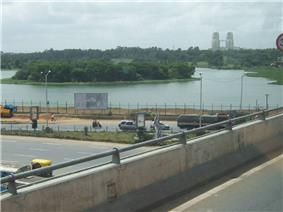Hebbal Lake seen from flyover
