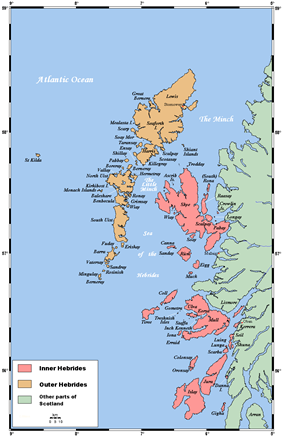 A map of the island chain of the Outer Hebrides that lie to the west with numerous other islands – the Inner Hebrides – closer to the mainland of Scotland in the east.